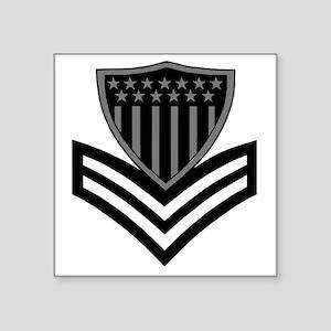 "USCG-PO1-Pin-Subdued-X Square Sticker 3"" x 3"""