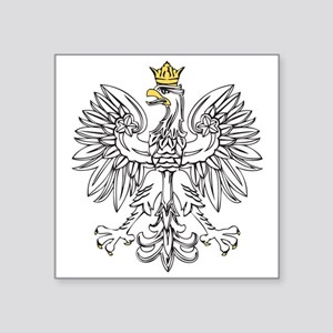 """Polish Eagle With Gold Crown Square Sticker 3"""" x 3"""