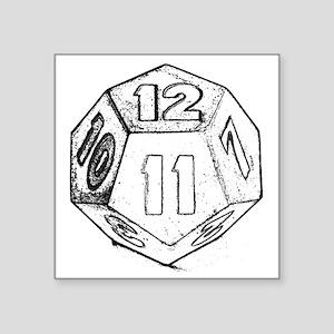"""12 sided die dark Square Sticker 3"""" x 3"""""""