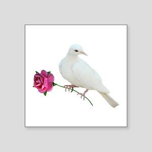 """Dove Rose Square Sticker 3"""" x 3"""""""