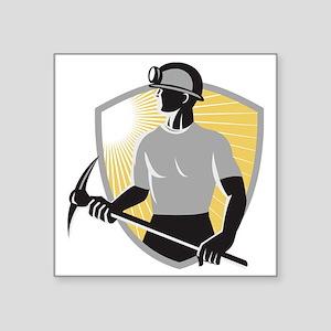 "Coal Miner With Pick Ax Shi Square Sticker 3"" x 3"""