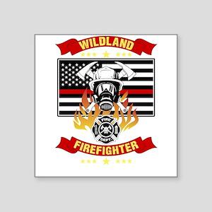 Wildland Firefighter Hero Thin Red Line Sm Sticker