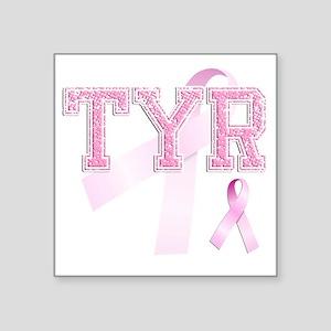 "TYR initials, Pink Ribbon, Square Sticker 3"" x 3"""