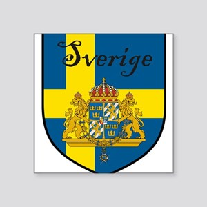 "Sverige Flag Crest Shield Square Sticker 3"" x 3"""