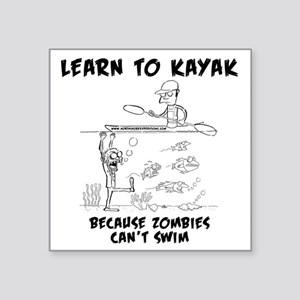 "Zombie vs. Kayaker Square Sticker 3"" x 3"""