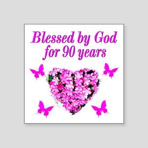 "CHRISTIAN 90 YR OLD Square Sticker 3"" x 3"""