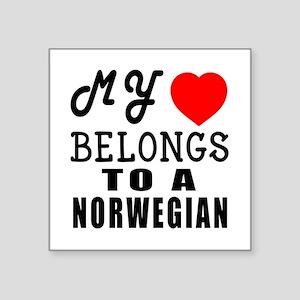 "I Love Norwegian Square Sticker 3"" x 3"""