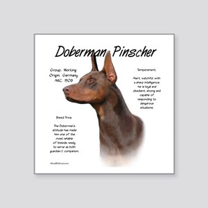 "Doberman (red) Square Sticker 3"" x 3"""