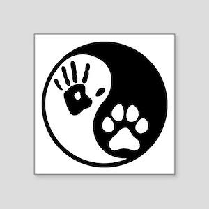 "Human & Dog Yin Yang Square Sticker 3"" x 3"""