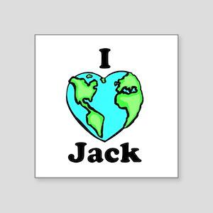 "I heart globe Jack Square Sticker 3"" x 3&quot"