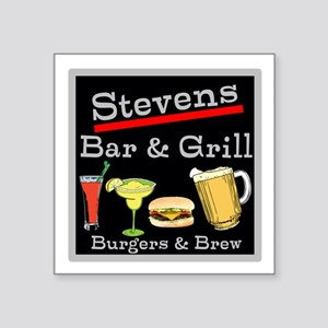 """Personalized Bar and Grill Square Sticker 3"""" x 3"""""""