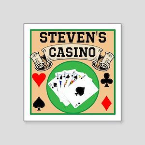 """Personalized Casino Square Sticker 3"""" x 3"""""""