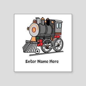 """Personalized Train Engine Square Sticker 3"""" x 3"""""""