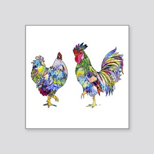 """Rooster & Hen Square Sticker 3"""" x 3"""""""