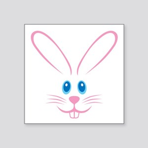 """Pink Bunny Face Square Sticker 3"""" x 3"""""""