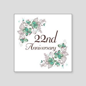 "22nd Anniversary Keepsake Square Sticker 3"" x 3"""