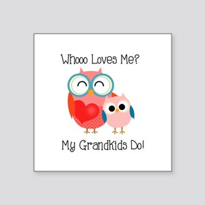 "Owl Grandkids Square Sticker 3"" x 3"""