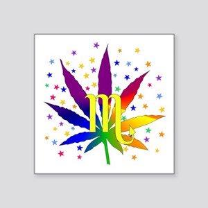 "Rainbow Marijuana Scorpio Square Sticker 3"" x 3"""