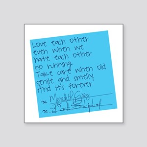 "Grey's Anatomy: Sticky Note Square Sticker 3"" x 3"""
