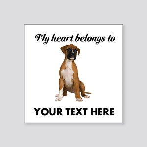 "Personalized Boxer Dog Square Sticker 3"" x 3"""