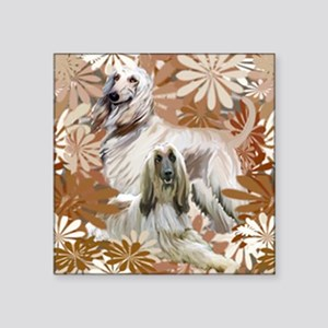 """Afghan Hound Floral Square Sticker 3"""" x 3"""""""