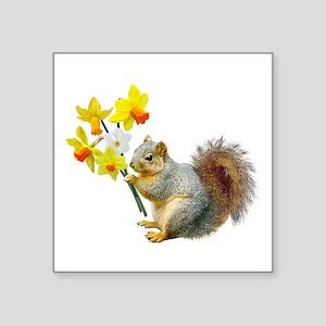 """Squirrel Daffodils Square Sticker 3"""" x 3"""""""