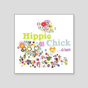 "Hippie Chick at Heart Square Sticker 3"" x 3"""