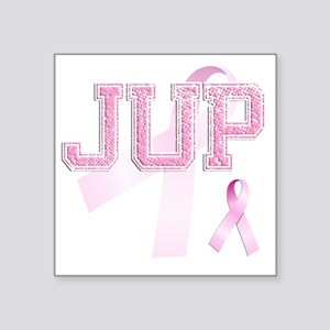 "JUP initials, Pink Ribbon, Square Sticker 3"" x 3"""