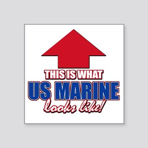"US Marine designs Square Sticker 3"" x 3"""