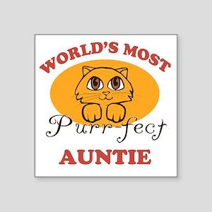 "One Purrfect Auntie Square Sticker 3"" x 3"""