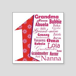 "#1 Grandmother / Square Sticker 3"" x 3"""