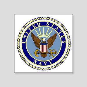 "Navy-Logo-9 Square Sticker 3"" x 3"""