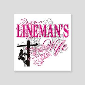 "linemans wife3 white Square Sticker 3"" x 3"""