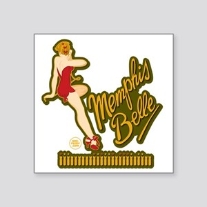 "Memphis Belle Red Nose Art Square Sticker 3"" x 3"""