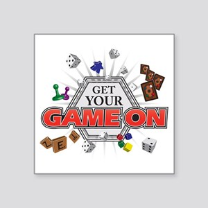 "Get Your Game On - Black Square Sticker 3"" x 3"""