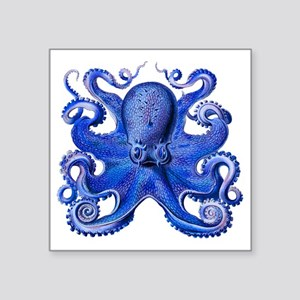 "Blue Octopus Square Sticker 3"" x 3"""