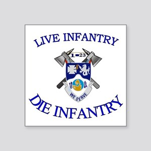"1st Bn 23rd Infantry cap4 Square Sticker 3"" x 3"""