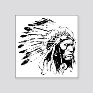 """Native American Chieftain Square Sticker 3"""" x 3"""""""