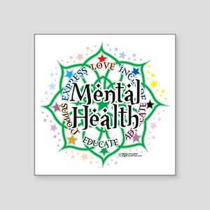 "Mental-Health-Lotus Square Sticker 3"" x 3"""