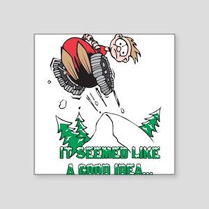 Funny Snowmobile Rectangle Sticker