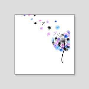 Blowing Dandelion Colorful Square Sticker