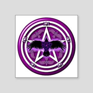 "Purple Crow Pentacle - tran Square Sticker 3"" x 3"""