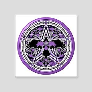 "Purple Crow Pentacle Square Sticker 3"" x 3"""