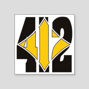 """412 Black/Gold-W Square Sticker 3"""" x 3"""""""