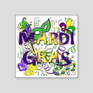 """MARDI GRAS Square Sticker 3"""" x 3"""""""