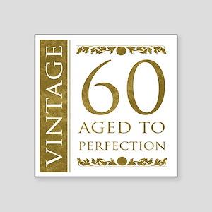 "Fancy Vintage 60th Birthday Square Sticker 3"" x 3"""