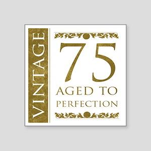 "Fancy Vintage 75th Birthday Square Sticker 3"" x 3"""
