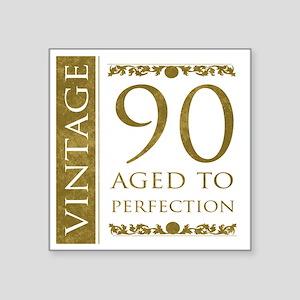 "Fancy Vintage 90th Birthday Square Sticker 3"" x 3"""
