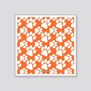 "Dog Paws Clemson Orange Square Sticker 3"" x 3"""