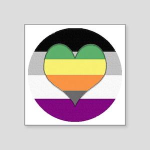 """Aromantic Asexual Heart #1 Square Sticker 3"""" x 3"""""""